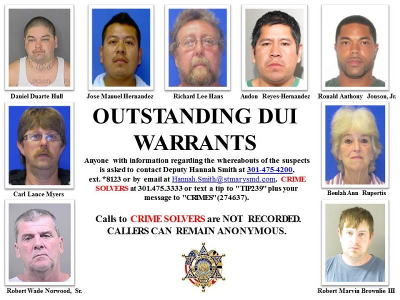 Outstanding DUI Warrants for St. Mary's County