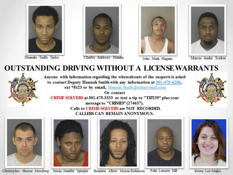 Outstanding Driving Without a License Warrants in St. Mary's County