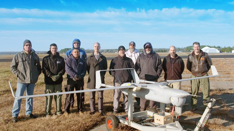 The RQ-21A Blackjack team prepares to fly the unmanned air system in December 2016 at Patuxent River Naval Air Station Webster Outlying Field in Maryland. (U.S. Navy photo)