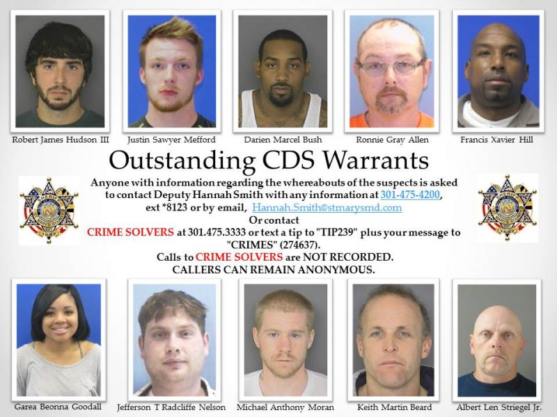 Outstanding CDS (Controlled Dangerous Substance) Warrants in St. Mary's County