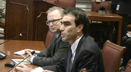 Assistant Attorney General Joshua Auerbach, right, and Hopkins medical historian Jeremy Greene.