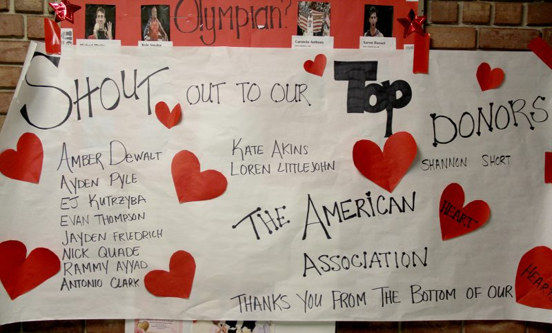 Milton M. Somers Middle School students and staff recently participated in the American Heart Association's Hoops For Heart event. Students raised donations and joined basketball teams for a chance to play basketball against their teachers. A banner recognizing the school's top donors, pictured, is on display outside of the school gymnasium. The school raised more than $4,500 for the cause.