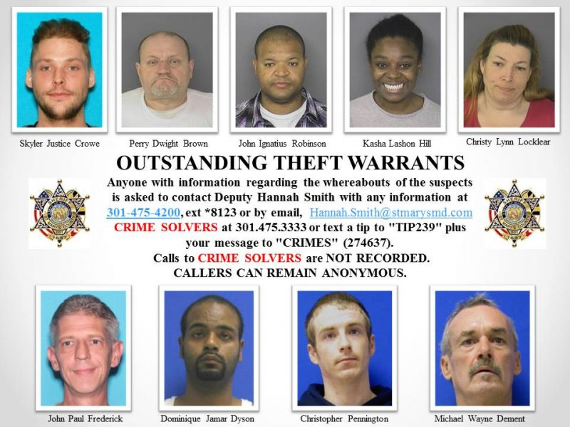 Outstanding Theft Warrants for St. Mary's County