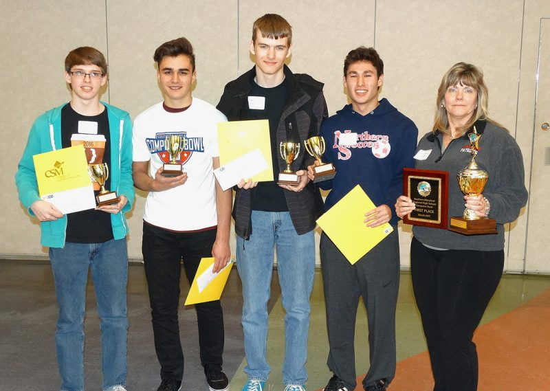 First-place team: Northern High School, Calvert County From left, Justen Serrao, Kyle Hurley, Will Longsworth, Michael Lindsey, and coach Victoria Longsworth.