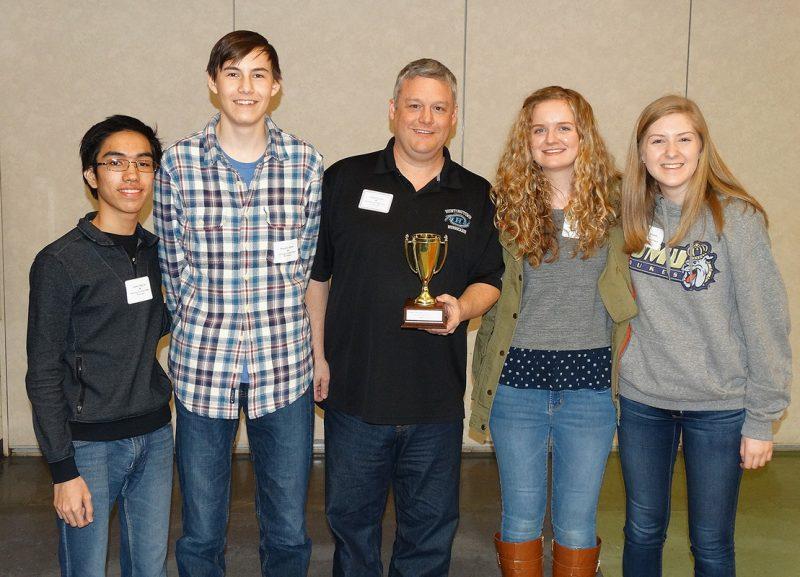 Third-place team: Huntingtown High School, Calvert County From left, Jimmy Nguyen, Brayden Archer, coach Tom Currier, Emily Desverreaux, and Kirsi Arnesen.