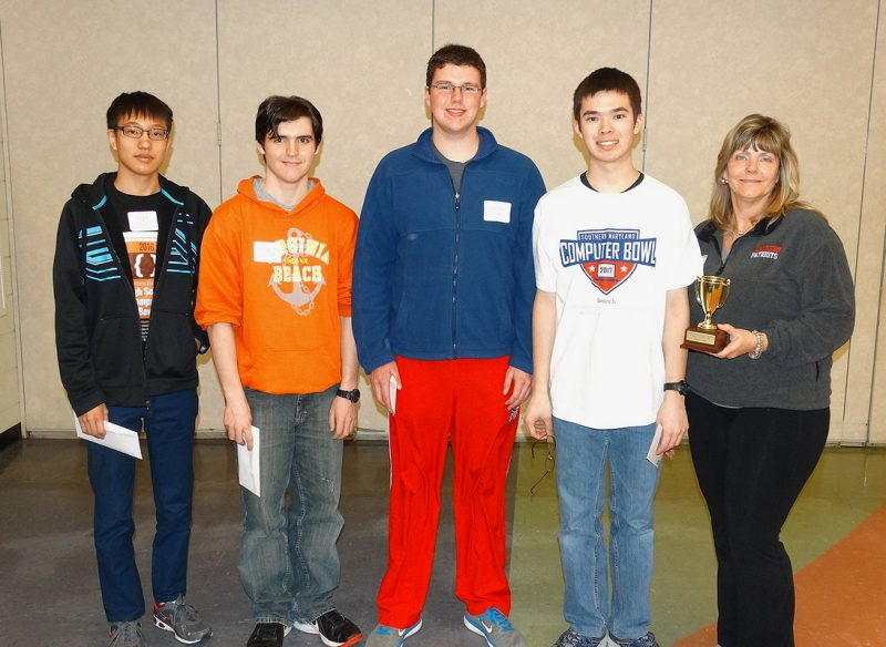 Fourth-place team: Northern High School, Calvert County From left, Jim Kong, Micah Calderwood, Tommy O'Brien, John Heide, and coach Victoria Longsworth.