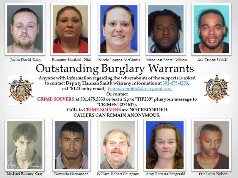 Outstanding Burglary Warrants for St. Mary's County