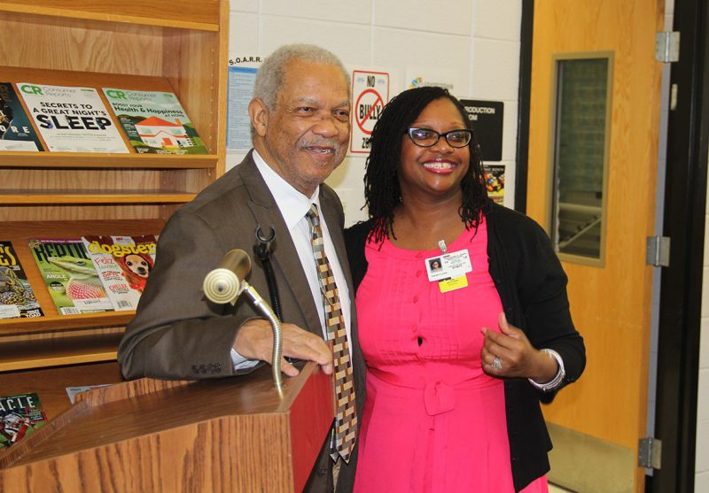 Theodore G. Davis Middle School Principal Kim McClarin, right, poses for a photo with Rev. Reginald Green, a Freedom Rider in the 1960s during the civil rights movement. Green visited the school on Feb. 24 to speak to a group of social studies students about his experiences as a Freedom Rider.