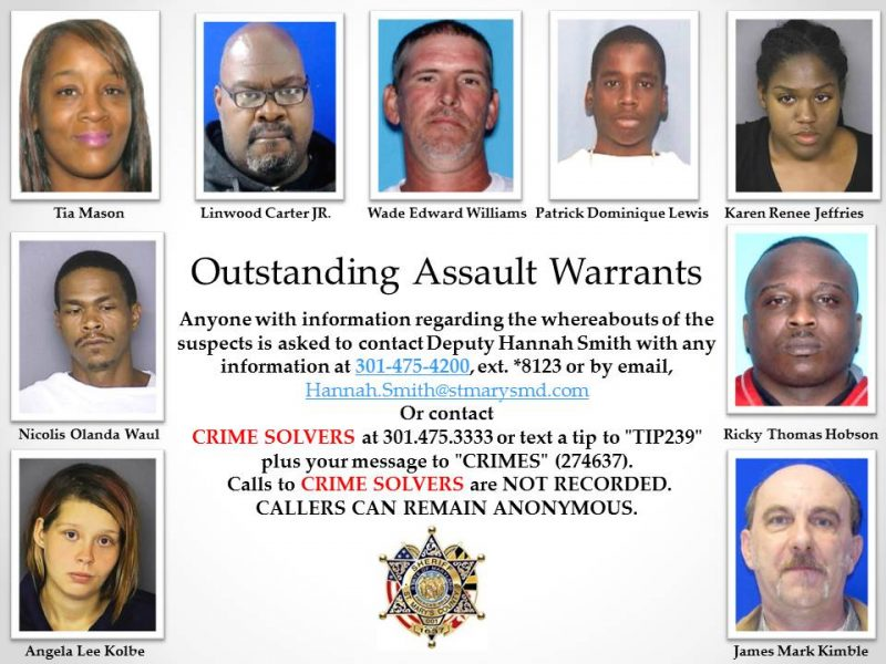 Outstanding Assault Warrants for St. Mary's County