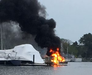 VIDEO: Natural Resources Police Investigating Boat Fire at Solomons Yacht Club
