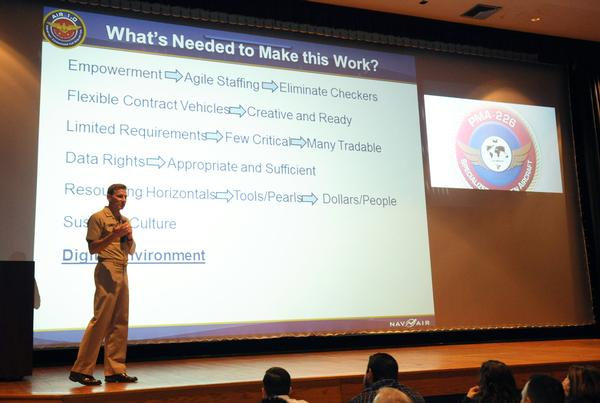 Navy Vice Adm. Paul Grosklags addresses the program management workforce at the AIR-1.0 All-Hands April 6 at Naval Air Station Patuxent River. (U.S. Navy photo)