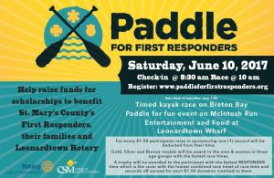 Paddle for First Responders to be Held at Leonardtown Wharf