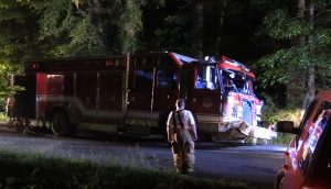UPDATE – Exclusive Video/Audio: Early Morning Fire Truck Accident in Leonardtown