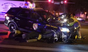 VIDEO: Motor Vehicle Accident Involving a Maryland State Trooper in California, Maryland