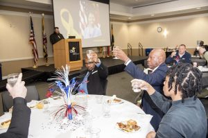 Participants share a toast to POWs at the annual Veterans Breakfast and Open House held at the College of Southern Maryland's La Plata Campus Nov. 9.