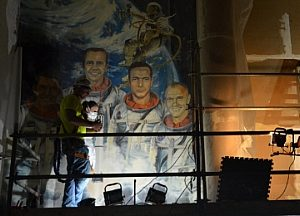 Mercury Astronauts Mural Removed for Conservation Prior to Pax River O-Club Demolition