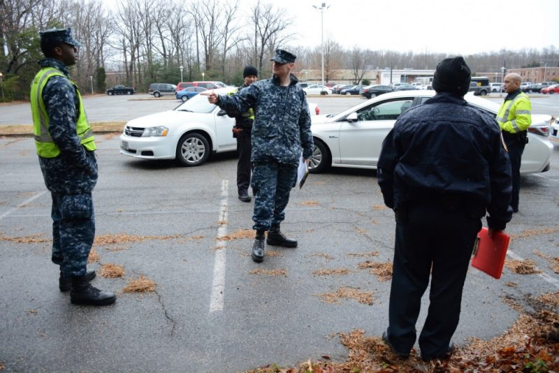 Master-at-Arms 1st Class Adam Wiltrout reviews incident reporting procedures with NAS Patuxent River security department personnel during the Citadel Shield/Solid Curtain 2018 exercise. Citadel Shield/Solid Curtain 2018 is an anti-terrorism and force protection exercise conducted by Navy installations within the continental United States to ensure that the Navy is ready to respond to changing and dynamic threats at all times.