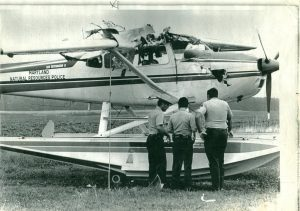 Inspecting the plane after the blast
