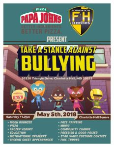 "Papa John's Pizza and Foundation 4 Heroes organize ""Take A Stance Against Bullying"""