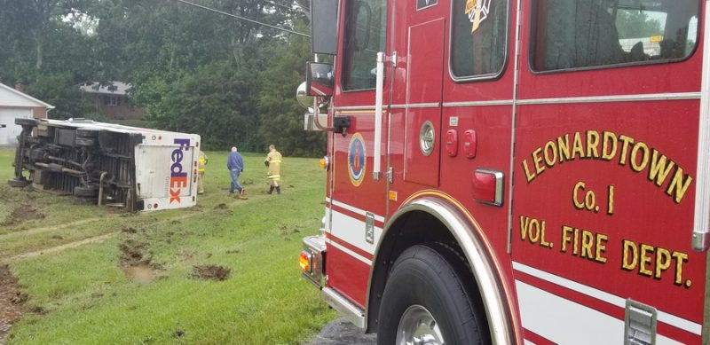 Driver Injured After FedEx Truck Rolls Over in Helen