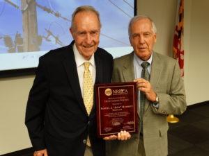"Samuel ""Jack"" Hammett (left) received the Regional Service Award for Outstanding Service from the National Rural Electric Cooperative Association (NRECA). Daniel W. Dyer presented the award to Hammett on behalf of NRECA."