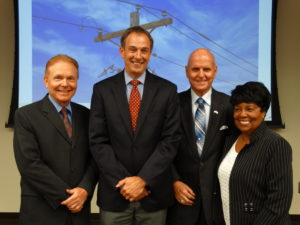 SMECO's Directors elected new officers at the September Board meeting. Left to right, W. Michael Phipps was elected vice chairman, P. Scott White was elected chairman, Kenneth L. Dyson was re-elected to the secretary-treasurer's post, and Fern G. Brown was re-elected as the assistant secretary-treasurer.