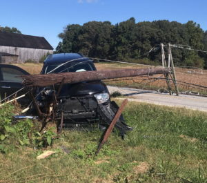 One Injured in Saint Leonard After Vehicle Hits Utility Pole