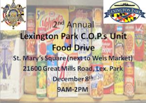 COPs Unit Hosting Food Drive Dec. 8, 2018