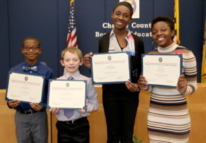 Board of Education Honors Four Exemplary Charles County Public School Students for Achievements