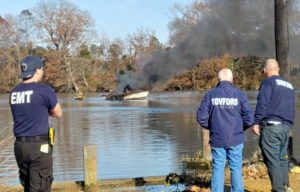 Firefighters Respond to Boat Fire in Drayden