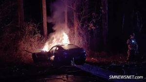 VIDEO: Vehicle Strikes Pole & Catches on Fire in Early Morning Great Mills Car Crash