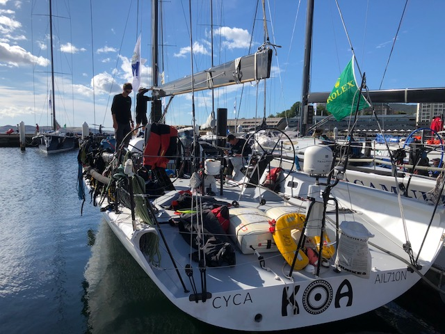 "The KOA, a 52-foot all-carbon fiber boat that sailed in the Rolex Sydney Hobart yacht race, Dec 26-29 in the Southern Ocean, was helmed by Scott ""Gus"" Ward of Hollywood, Md.The KOA, a 52-foot all-carbon fiber boat that sailed in the Rolex Sydney Hobart yacht race, Dec 26-29 in the Southern Ocean, was helmed by Scott ""Gus"" Ward of Hollywood, Md."