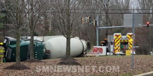 No Injuries Reported After Cement Truck Overturns in Charles County