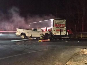 Serious Crash Involving Truck and Commuter Bus Sends One to Trauma Center