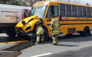 VIDEO: Motor Vehicle Accident Involving a School Bus and a Fuel Truck Reported in Leonardtown