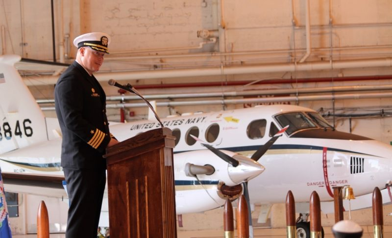 Incoming NAS Patuxent River Commanding Officer Capt. Christopher Cox addresses the crowd at the Change of Command ceremony April 11. Cox is the 41st CO to serve at Pax River, which was commissioned in April 1943. (U.S. Navy photo by Donna Cipolloni)
