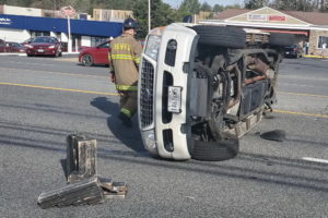 Car Flips Over After Motor Vehicle Accident on Great Mills Road