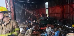 Barn Fire Quickly Extinguished by Firefighters in Evening Thunderstorms