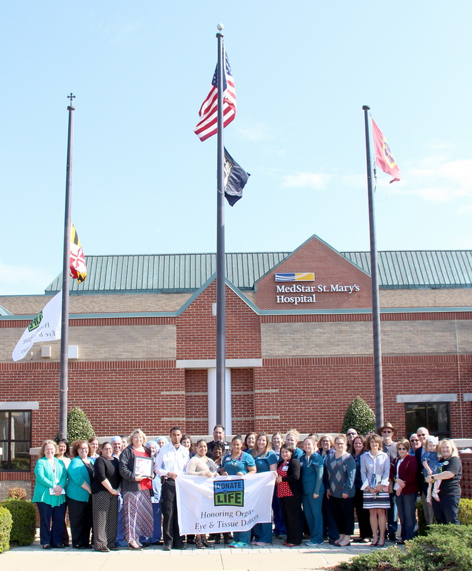 Organ donors, recipients, and their families joined MedStar St. Mary's Hospital administration, nurses, and associates as well as representatives from The Living Legacy Foundation to celebrate National Donate Life Month with a flag-raising ceremony on April 8.