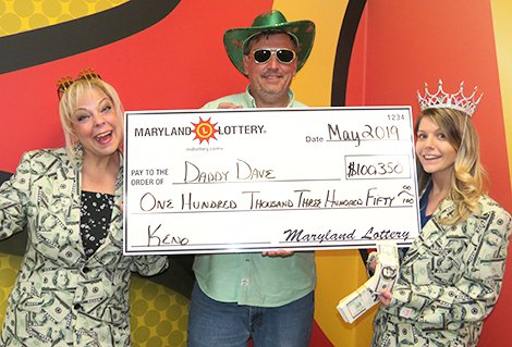 "This lucky Charles County trio is celebrating a $100,350 Keno win on an 8-spot bet with the Super Bonus feature added. Congrats to ""Daddy Dave,"" daughter ""Rae"" (right) and friend ""Cat."""
