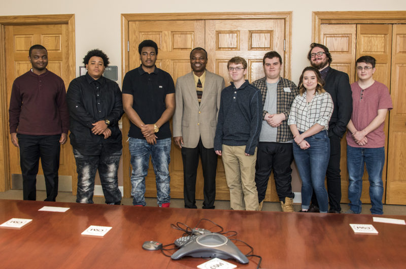 Having won accolades and prize money, nine CSM students will now have their award-winning public service announcements about vehicle theft prevention air throughout the year across the state of Maryland. The winners pictured with their professor from left are Tionte Smiley, Joseph Neal III, Kevin Poole, CSM Associate Professor and Program Coordinator Olaniyi Areke, Stephen Gardner, Jacob Buchanan, Jillian Roberts, Christian Pomponio and Dylan Fox. Not pictured is winner Michael Baranowski.