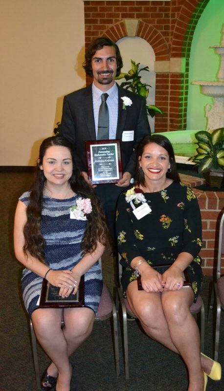 SMECO Outstanding Mathematics Teacher Award Recipients, Charles CountyStanding is Nicholas Andrews, La Plata High School. Seated, from left, are Hannah Matthews, Benjamin Stoddert Middle School, and Monica Halloran, Mt. Hope/Nanjemoy Elementary School.
