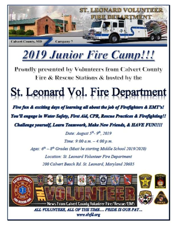 St. Leonard Volunteer Fire Department Hosting 2019 Junior Fire Camp