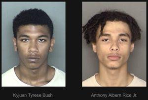 Kyjuan Tyrese Bush, 17 of Lexington Park and Anthony Albern Rice Jr., 18 of Drayden
