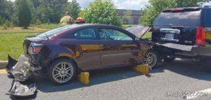 Three Vehicle Crash on Three Notch Road Sends One to Hospital