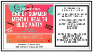 St. Peter's and Middleham Parish in Lusby Hosting Mental Health Fair on September 8th