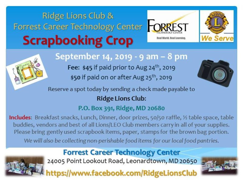 Forrest Center Hosting Scrapbooking Crop on Saturday, September 14, 2019 in Leonardtown