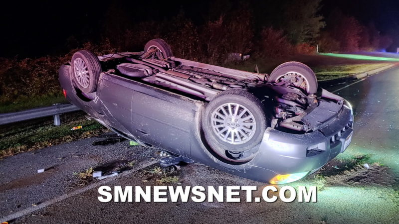 One Injured After Single Vehicle Rollover in Great Mills