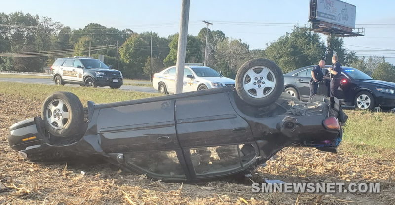 Minor Injuries Reported After Single Vehicle Rollover in Mechanicsville