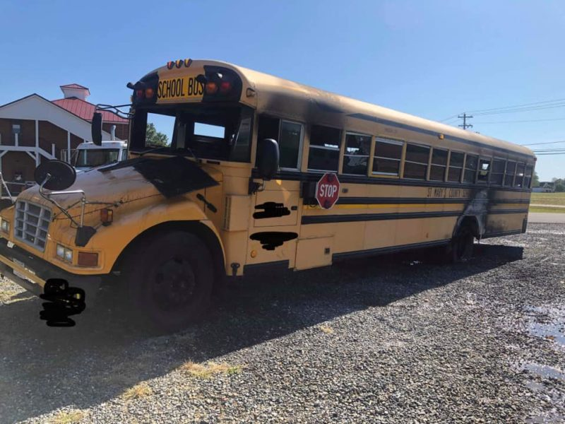 Firefighters Respond to School Bus Fire in Bushwood
